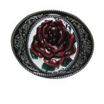 belt buckle,Flower Red Rose