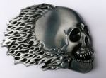 belt buckle,Flaming Flames Fire Skull Biker Motorcycle