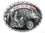 belt buckle, Born To Be Free Motorcycle And Wolf Chopper Biker Rider