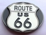 belt buckle, Route 66 Black & white