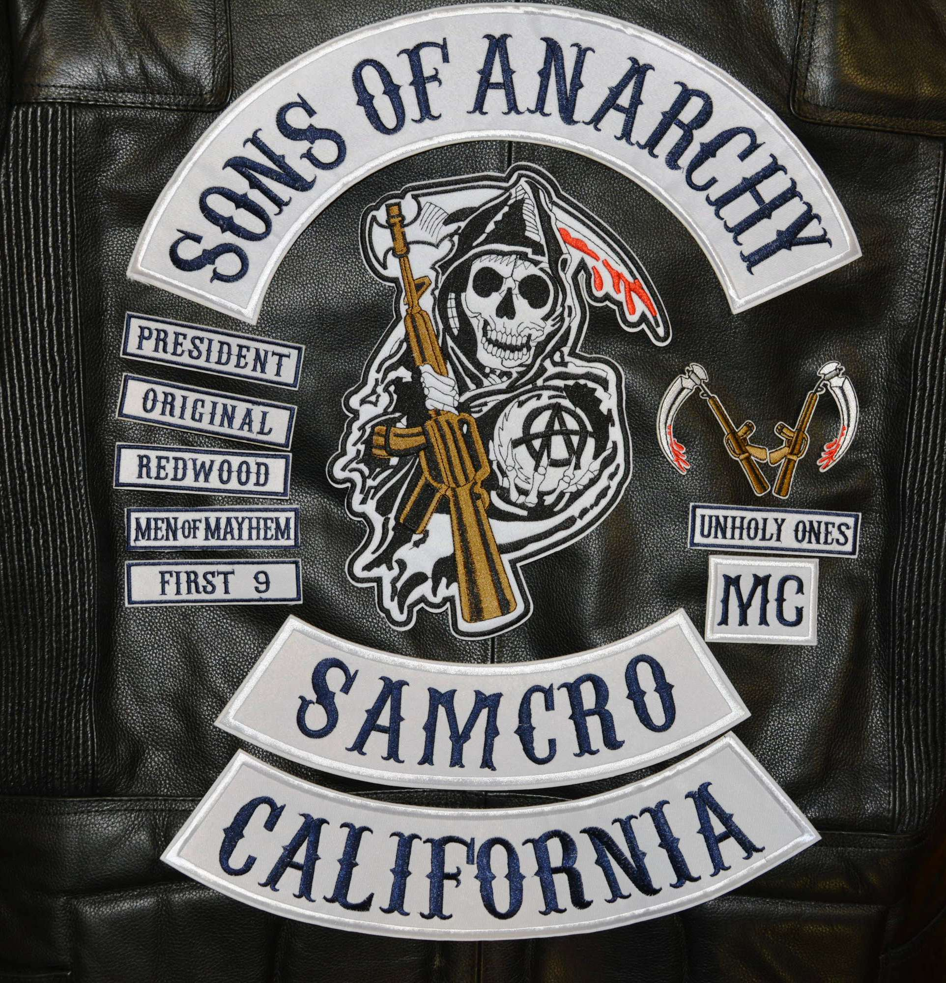 sons of anarchy embroidery twill biker patches for jacket. Black Bedroom Furniture Sets. Home Design Ideas